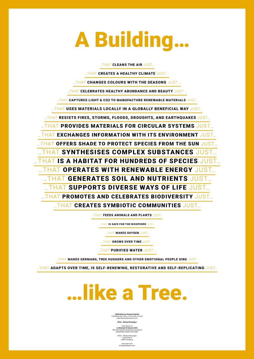 Dieses Plakat hat Professor Braungart für seine Cradle to Cradle Ausstellung auf der Architektur-Biennale in Venedig 2016 entworfen. Es bringt seine Vorstellungen vom Holzbau eindrucksvoll auf den Punkt.